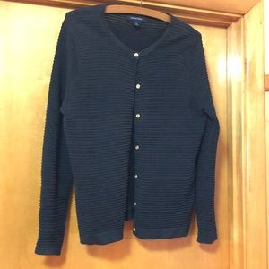 Lands End Cotton Ribbed Sweater ~ S